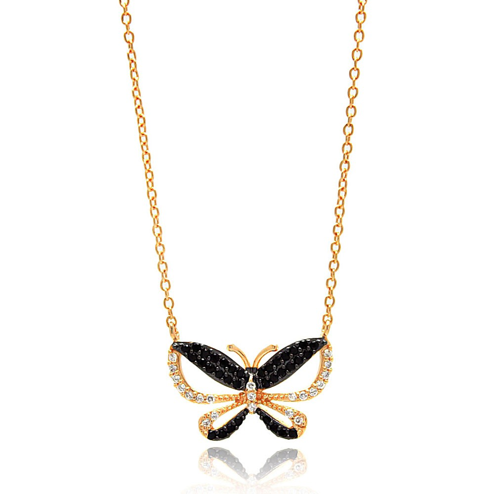 "Sterling Silver ""Butterfly"" Necklace Yellow Gold Plated - Click Image to Close"